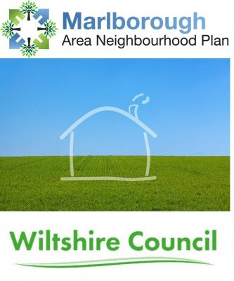 a sketch of a house sitting on a photo of a green field under a blue sky. There are two logos attached for the neighbourhood and local plans