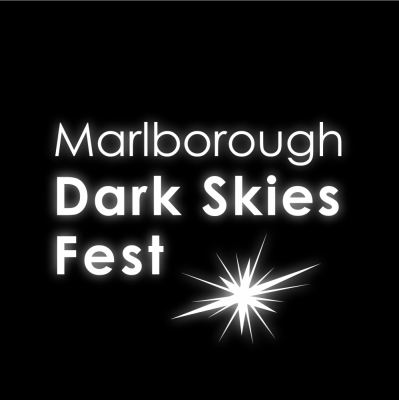 a logo - a flash of light and the words Marlborough Dark Skies Fest