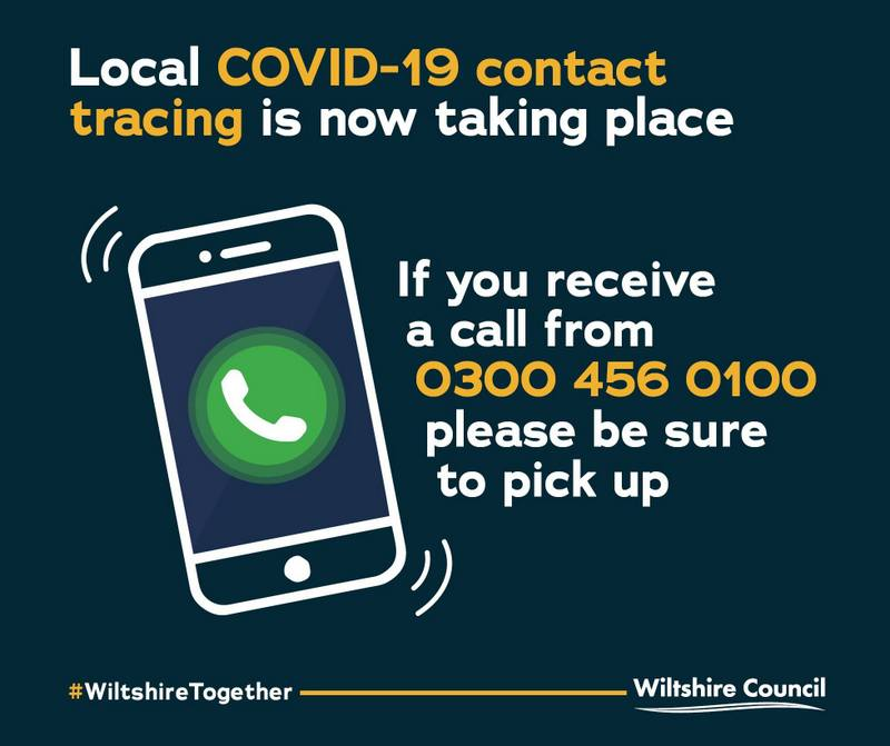 A logo - local contact tracing saying if you receive a call from 0300 456 0100 be sure to pick up